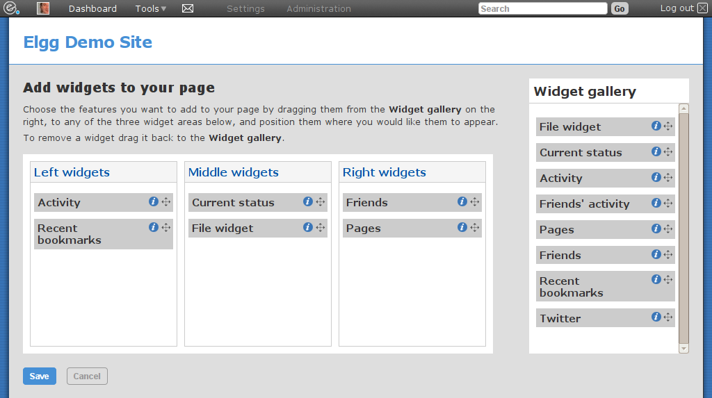 Adding your own widgets to the page (click to enlarge)