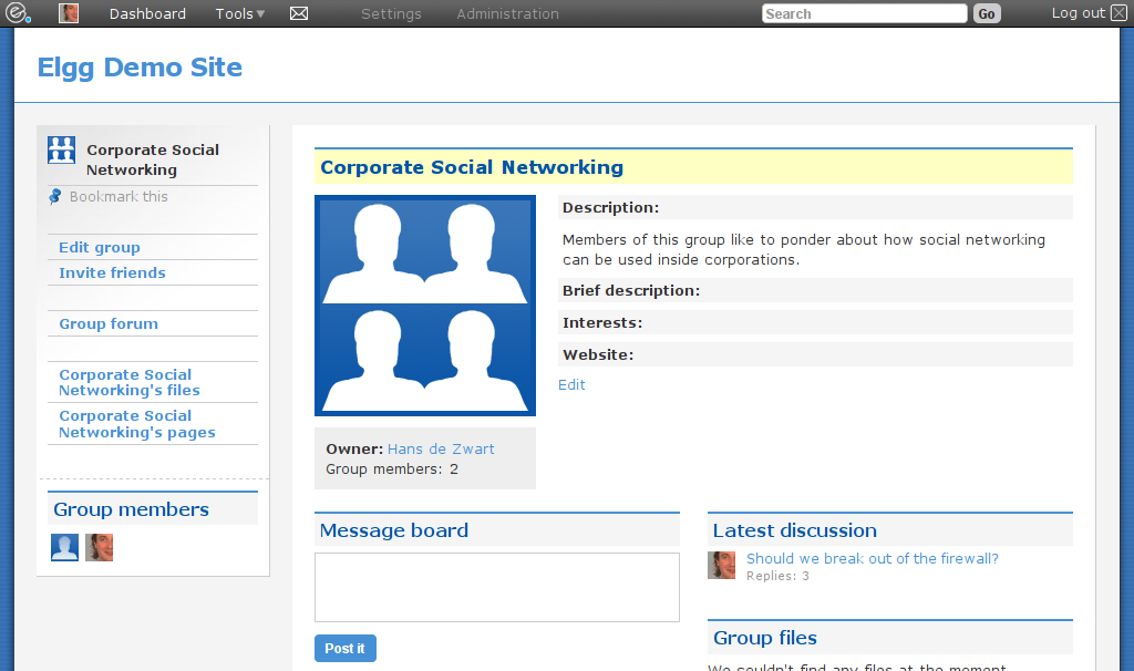 Elgg 1. 8 social networking (open source: community experience.