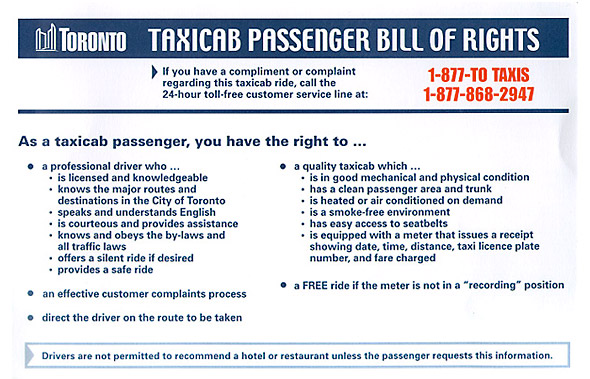 Taxi Bill of Rights (from Beck Taxi)