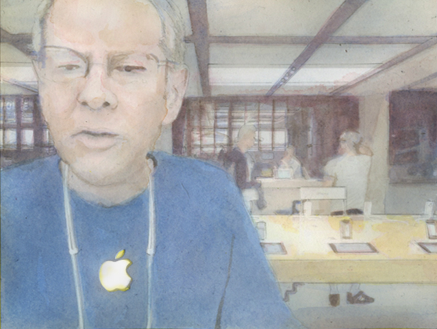 """applestore-employee"", copyright David Pierce"